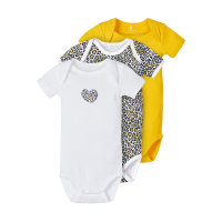 NAME IT 3er-Pack Mädchen kurzarm Baby Bodys in gold